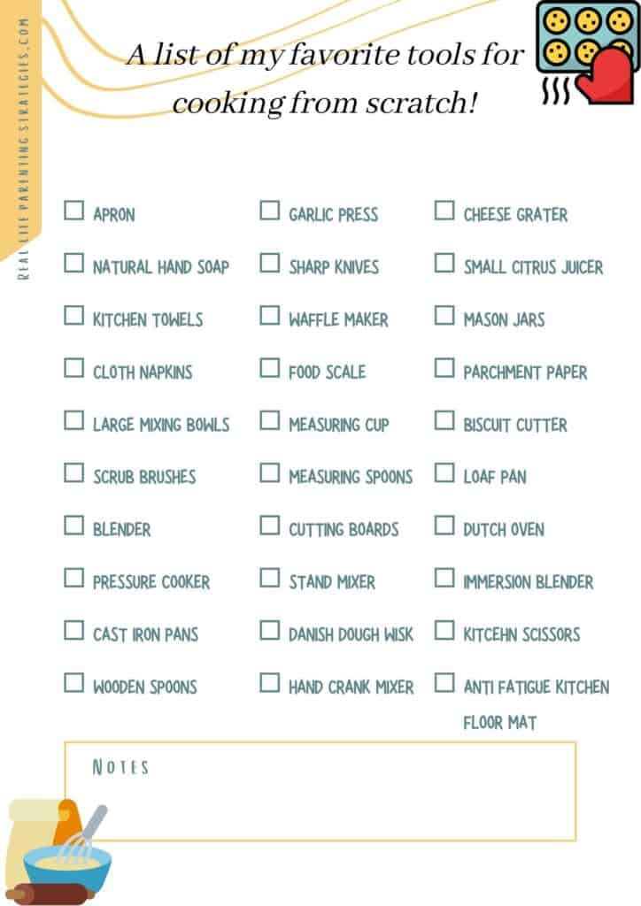 cooking from scratch tools checklist