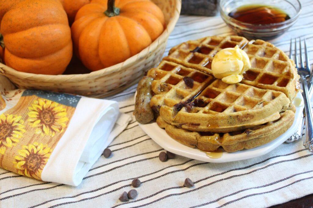 Chocolate Chip Pumpkin Sourdough Waffles