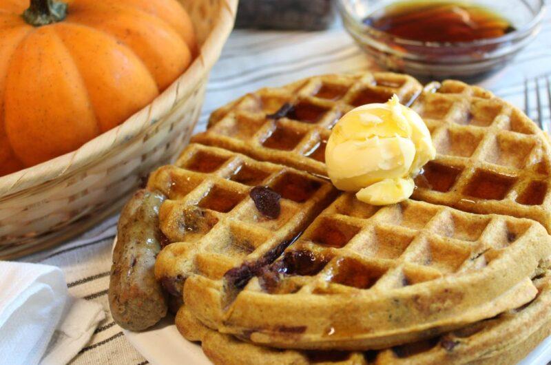 Pumpkin Chocolate Chip Sourdough Waffles